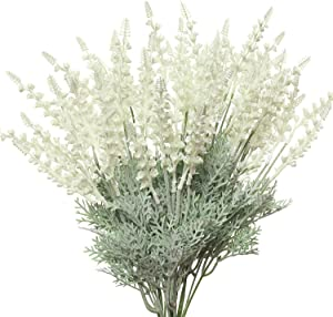 RED SECRET R Artificial Lavender Flowers 4Pcs Fake Stems Faux Floras Spikes Lifelike Plants for Farmhouse Bedroom Table Centerpiece DIY Party Wedding Balcony Windowsill Indoor Decor (White)