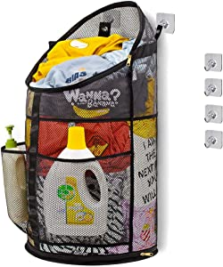TENRAI Smart Hanging Pop Up Laundry Hamper,with YKK Zipper Extra Large Opening Dirty Clothes Basket, Foldable Hamper Dirty with Side Pocket, Breathable Mesh Material(Holds 4 Loads)