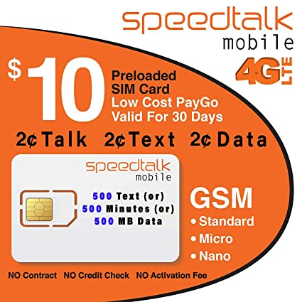 Amazon.com: $10 Prepaid GSM tarjeta SIM Unlimited texto ...