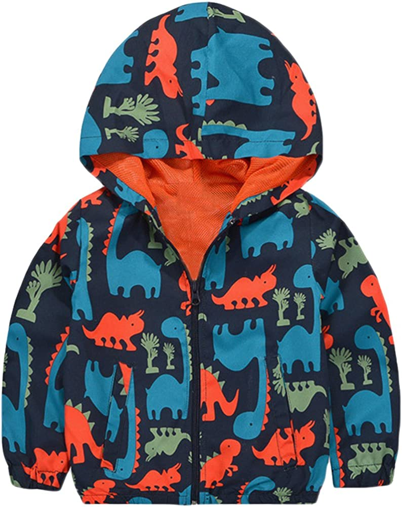 KISBINI Boy's Cartoon Dinosaur Print Zip Jacket Hooded Windproof Raincoat