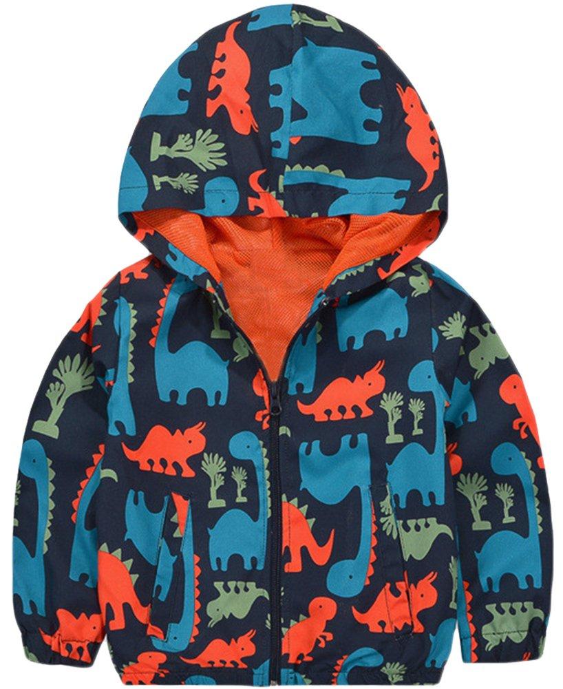 KISBINI Boy's Cartoon Dinosaur Print Zip Jacket Hooded Windproof Raincoat 5T
