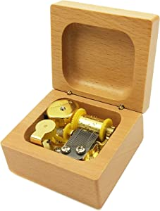 Mini 18 Note Wind-up Beech Wooden Music Box (Tune:You are My Sunshine with Gold-Plated Movement)
