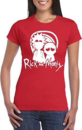 Red Female Gildan Short Sleeve T-Shirt - Rick and Morty – eyes design