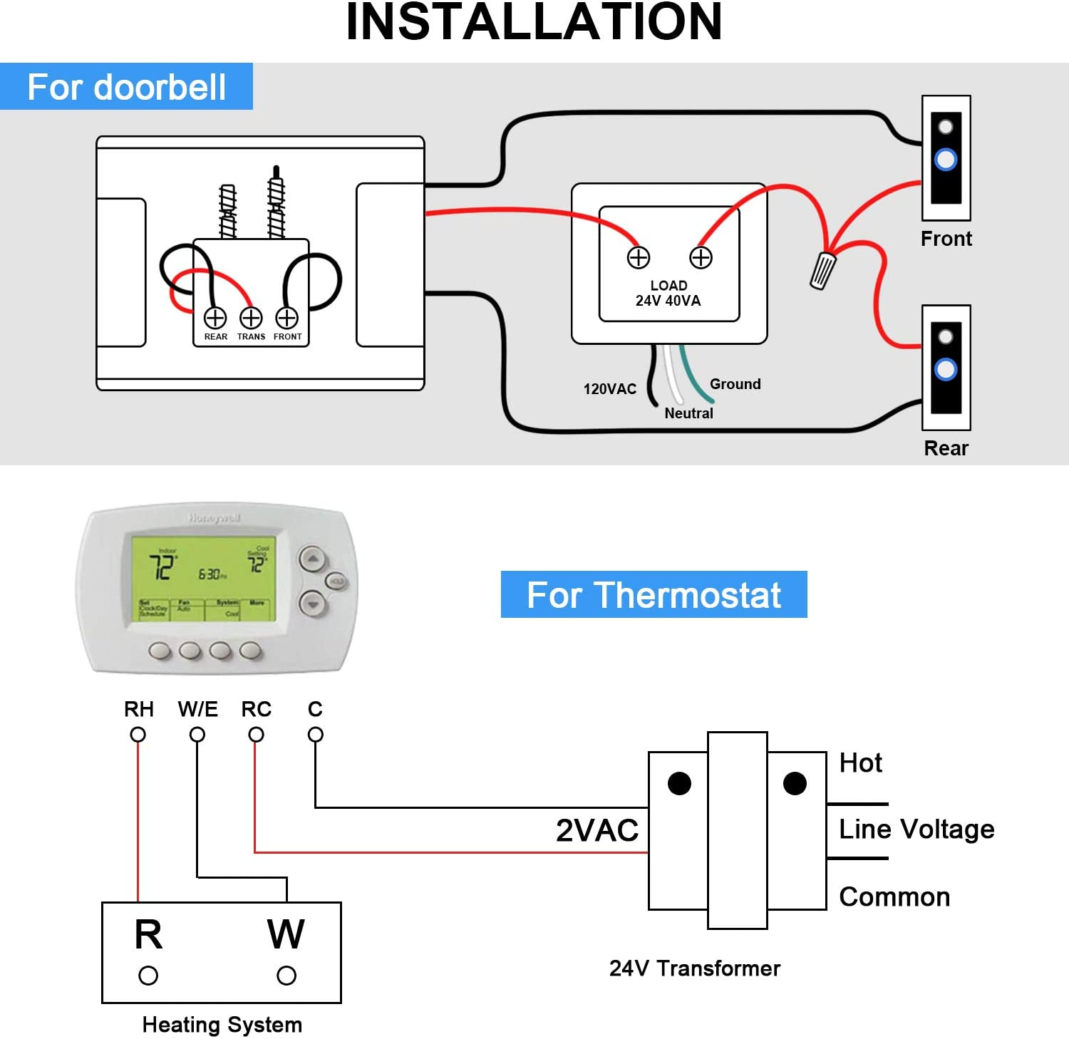 24v 40va Thermostat And Doorbell Transformer Power Supply Compatible With Nest Ecobee Sensi And Honeywell Thermostat Nest Hello Doorbell And All Versions Of Ring Doorbell Amazon Ca Tools Home Improvement