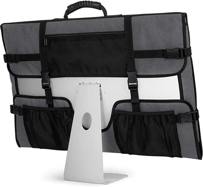"""CURMIO Travel Carrying Bag for Apple 27"""" iMac Desktop Computer, Protective Storage Case Monitor Dust Cover with Rubber Handle for 27"""" iMac Screen and Accessories, Grey, Patent Design."""