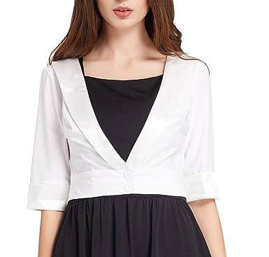 7e626dfbc0c GRACE KARIN Women Solid Button Down Cropped Bolero Cardigan Sweater S White