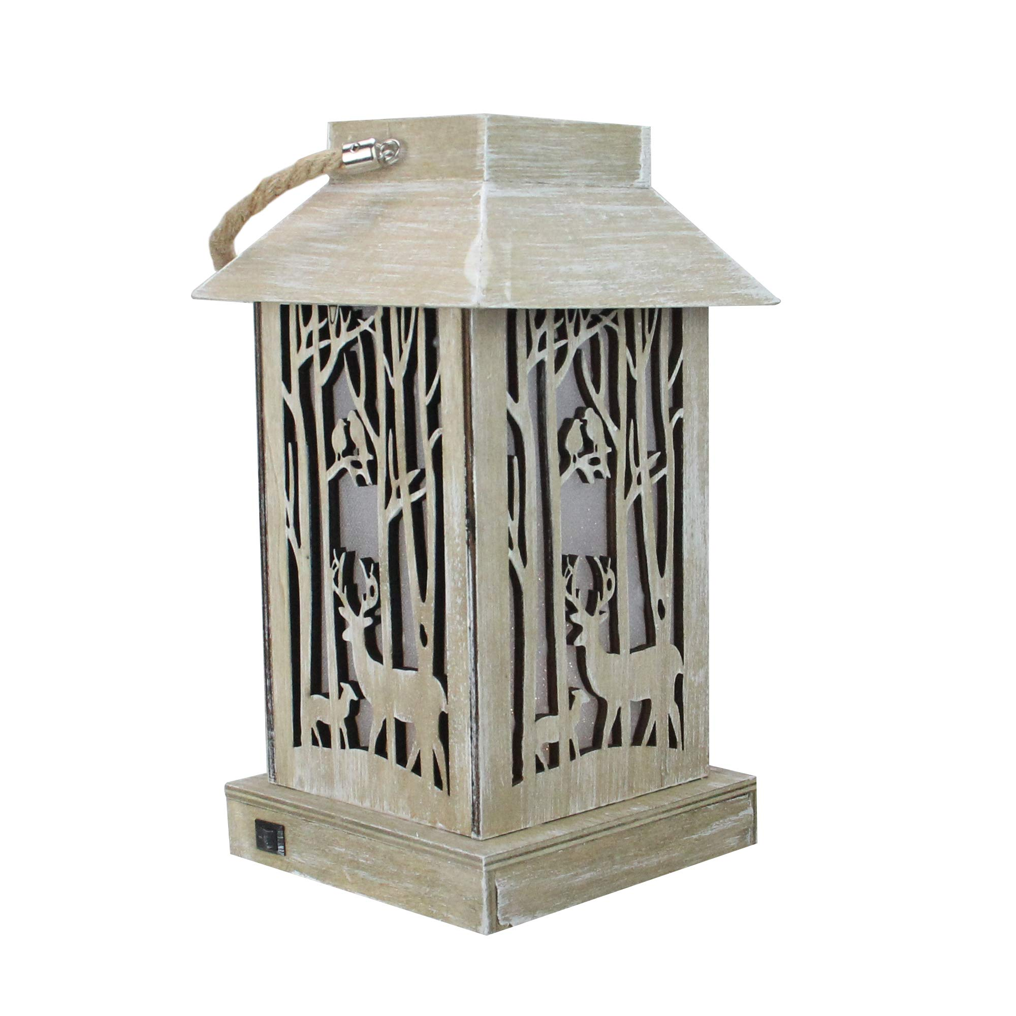 Diva At Home 9.5'' Lighted Wooden Reindeer with Trees Silhouette Lantern Christmas Decoration