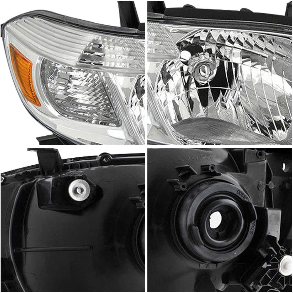 Headlights Assembly Replacement for 2008 2009 2010 Toyota Highlander with Chrome Housing Driver and Passenger Side