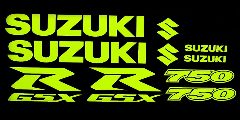 Suzuki GSXR 750?Jaune fluo Lot de stickers graphique X 10?pi?ces