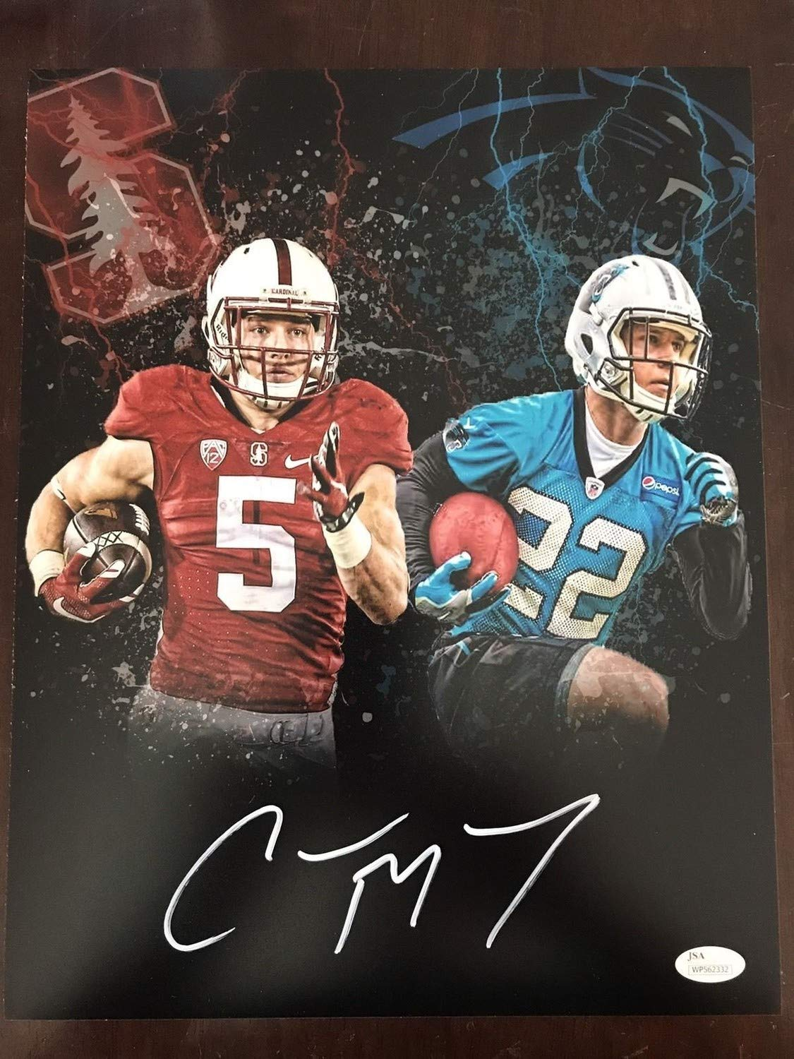 Christian Mccaffrey Autographed Signed 11x14 Mash-Up Photo In White JSA