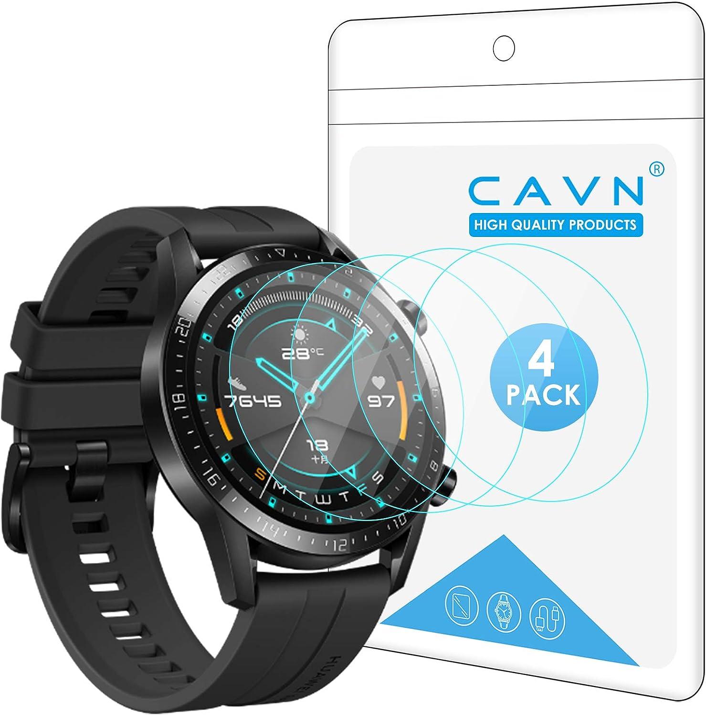 CAVN Protector de Pantalla Compatible con Huawei Watch GT2 46mm (no para GT 2 Pro), 4 Unidades Impermeable, a Prueba de Golpes,antiburbujas, Protector de Pantalla de Cristal Templado para GT 2