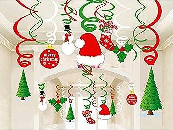 Hanging Christmas Decorations Ceiling.Amazon Com Christmas Hanging Swirl Decoration Kit 30pcs