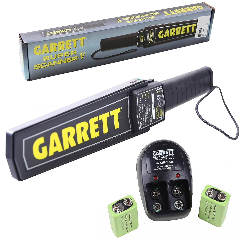 Garrett Super Scanner V Hand Held Metal Detector w 9V Rechargeable Battery Kit