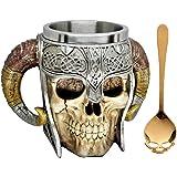 Giftware Viking Skull of Valhalla Warrior Mug Tankard 13oz, Stainless Steel Collectibles Double Handle Battle Helmet Beer Stein Tankard Coffee Beverage Juice by Dinnx