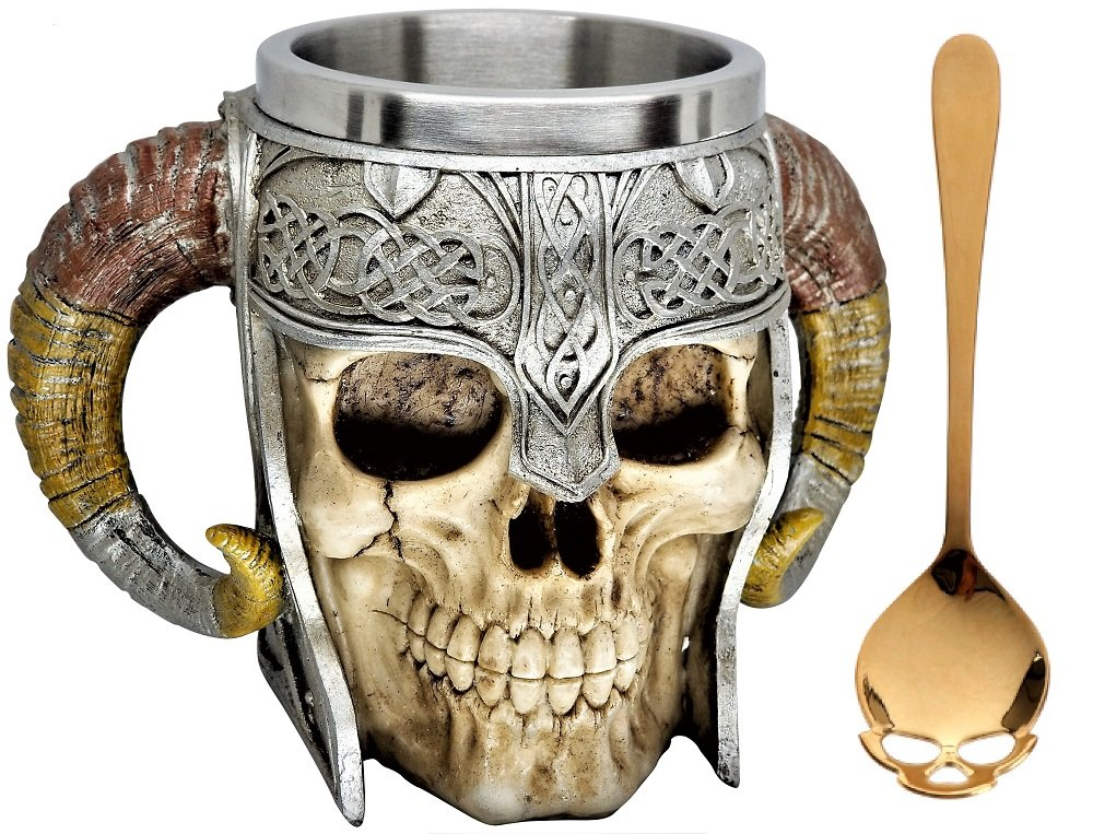Dinnx 13 oz Stainless Steel Liner Coffee Beer Mug with Sugar spoon, Skull Warrior Bone Goth 3D Creative Figural Horn Giftware