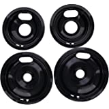 """Kitchen Basics 101 Porcelain Drip Pan Set Replacement for Whirlpool W10288051 : 2 ea 6"""" 93169204b and 8"""" 93169205b"""
