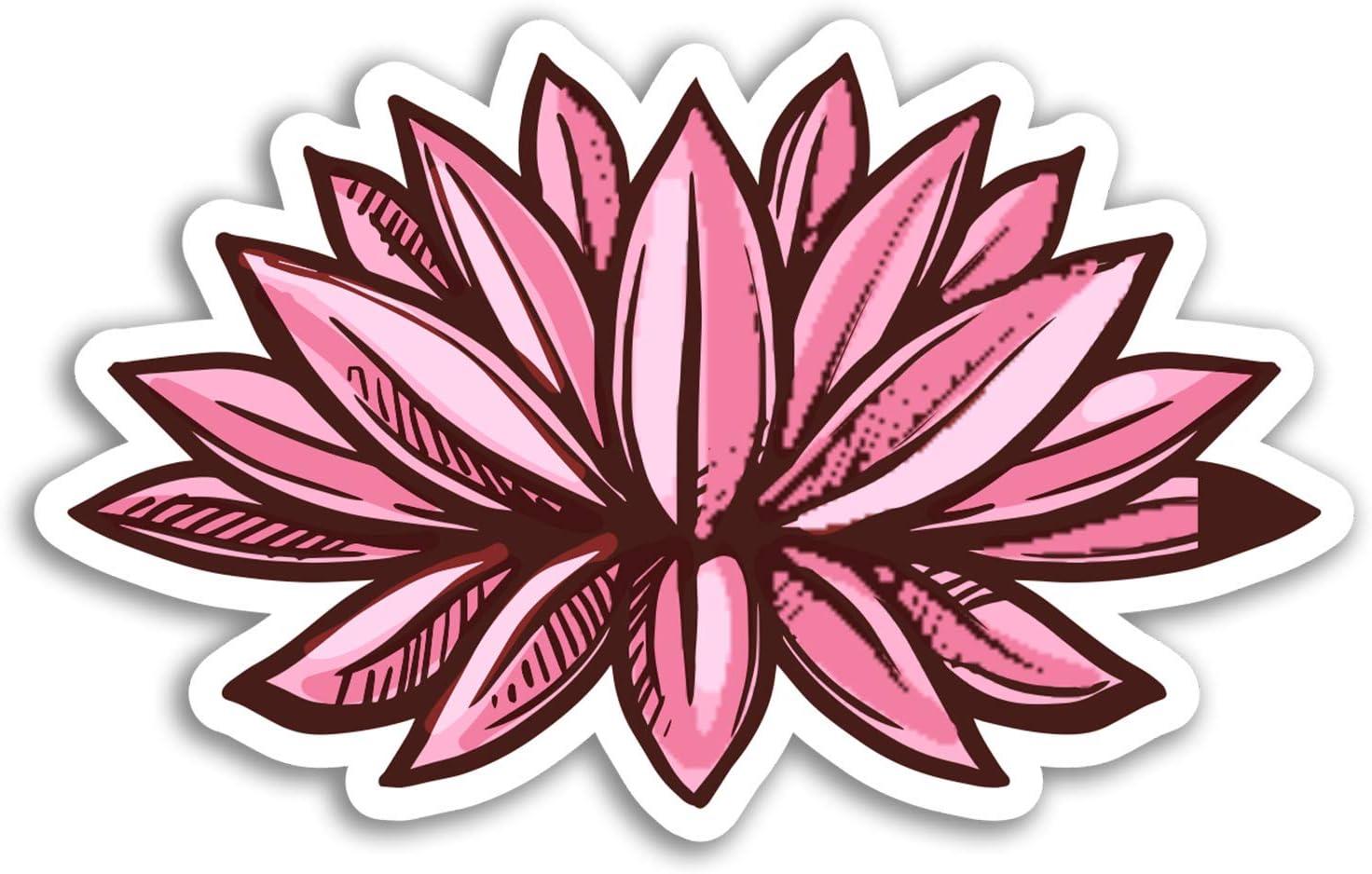 2 x 10cm Pink Lotus Flower Vinyl Stickers - India Sticker Laptop Luggage #17680 (10cm Wide)
