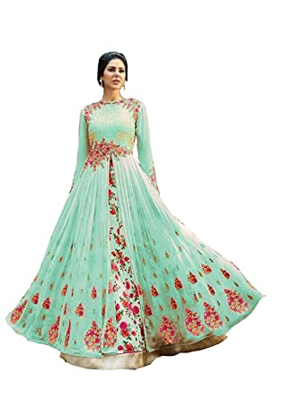449b630dfd24 Amazon.com  Women s Anarkali Dress Designer Indian Dress Ethnic Suit  Turquoise Floral Embroidered Gown with Georgette Fabric  Clothing