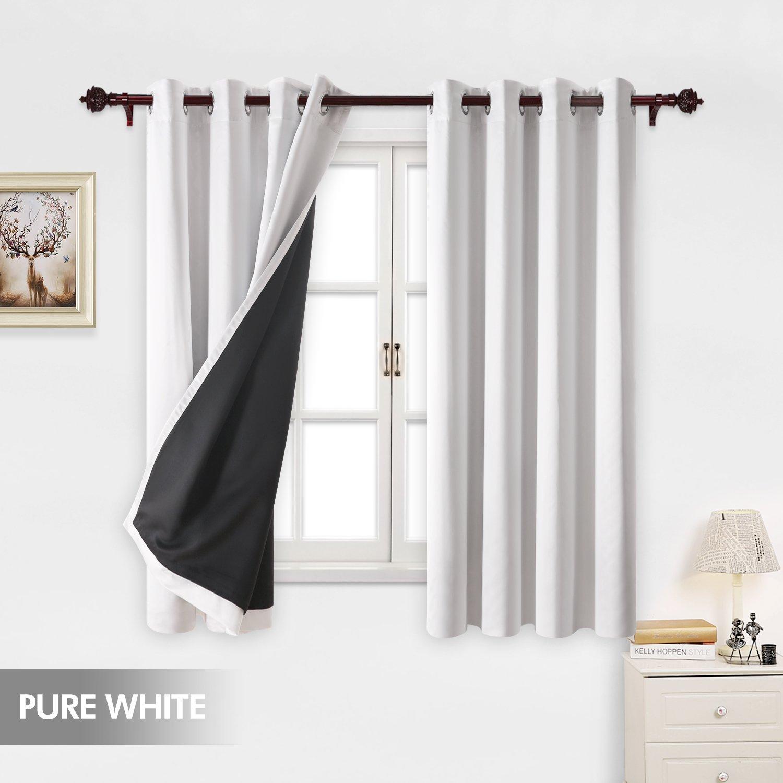 deconovo total white blackout curtains grommet thermal. Black Bedroom Furniture Sets. Home Design Ideas