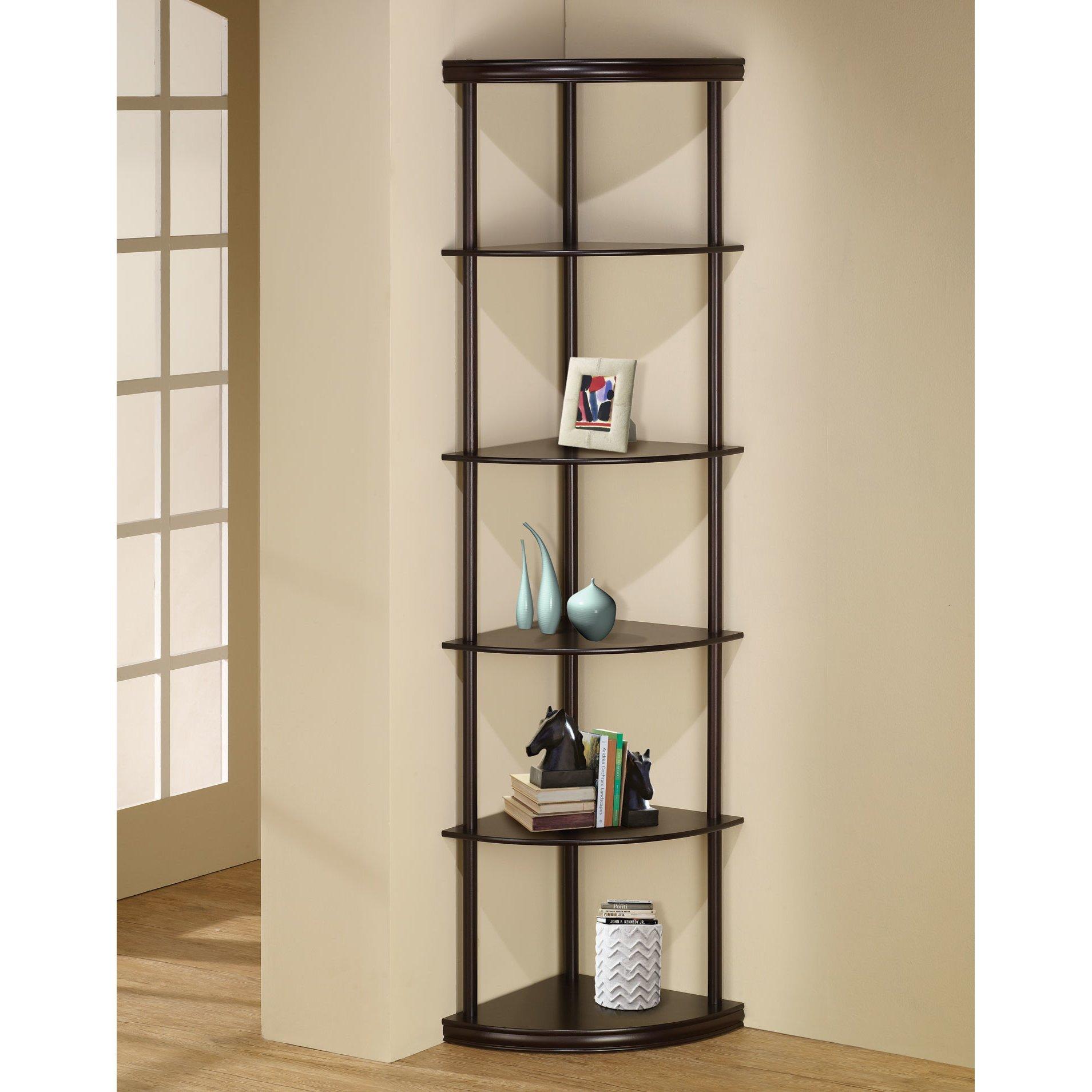 Charlton Home 72'' Open Back Panel Corner Unit Bookcase-Espresso, Number of Shelving Tiers: 5 , Shelf: 13'' H