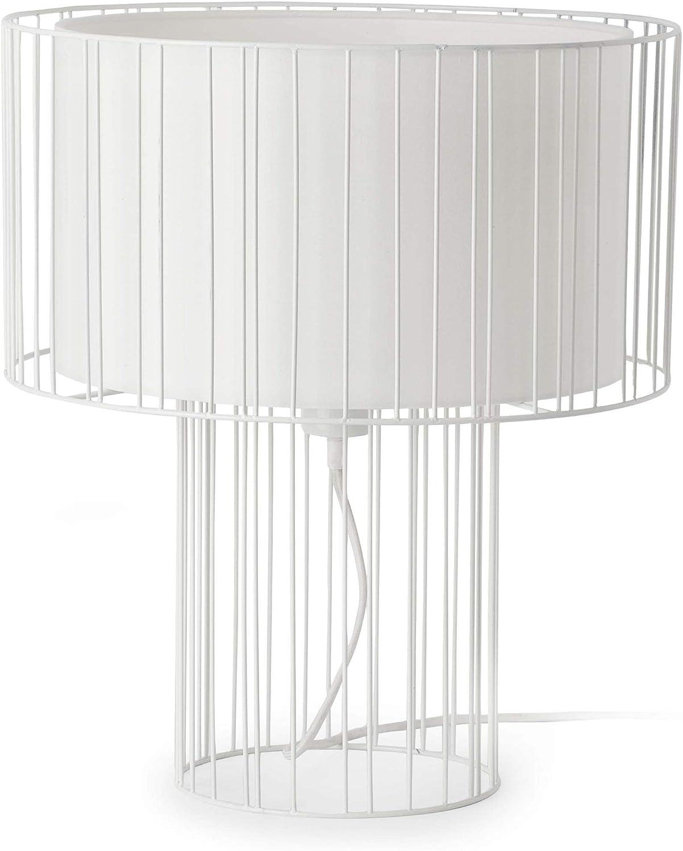 Faro Barcelona 29307 - LINDA Sobremesas y lámparas de pie, acero, pantalla textil y metal, color blanco