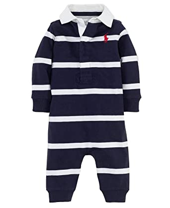 Amazon Com Polo Ralph Lauren Infant Boys Rugby Striped Coverall