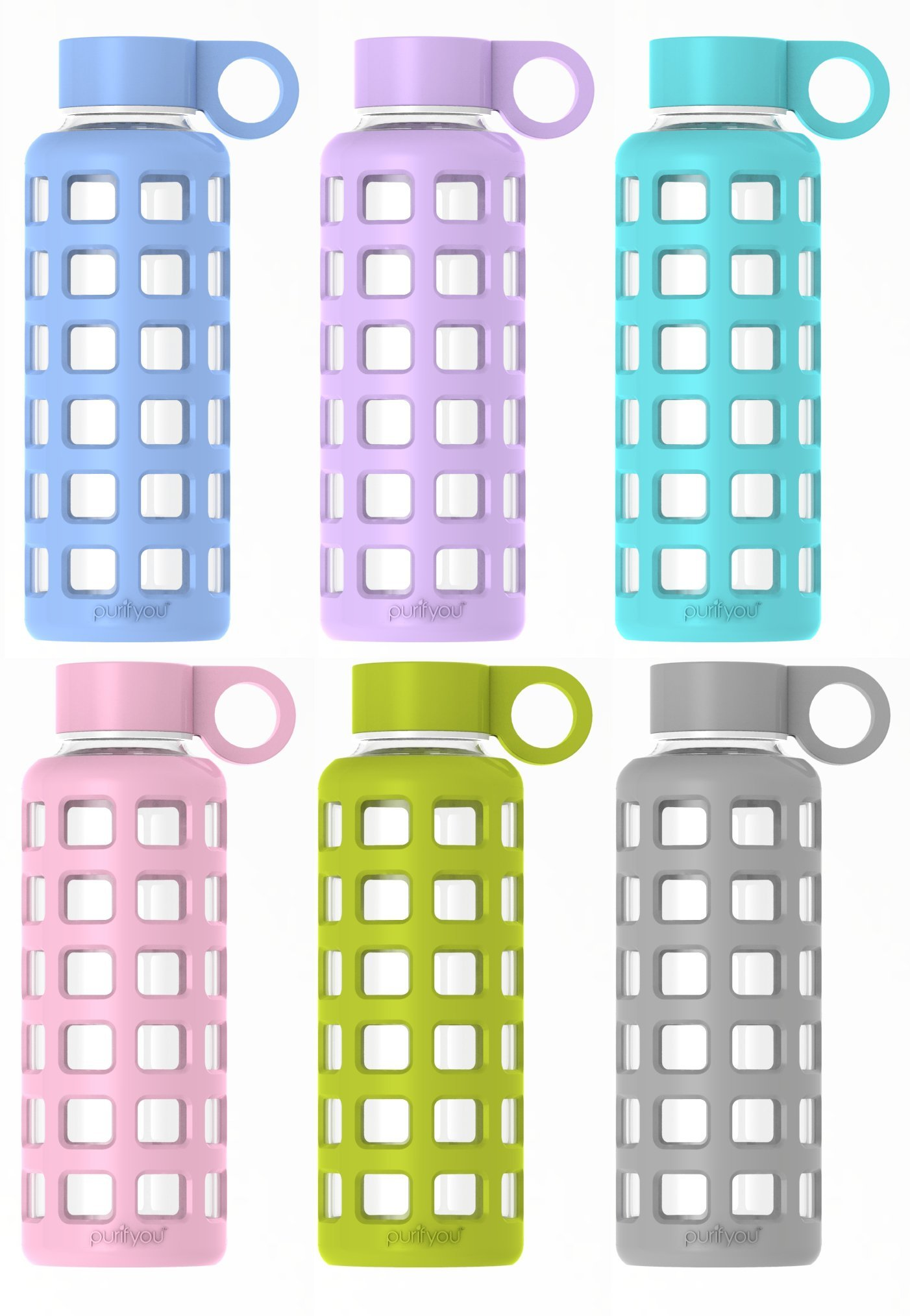 purifyou Premium Glass Water Bottle with Silicone Sleeve and Stainless Steel Lid, 12 / 22 / 32 oz (6 Pack, 22 oz)