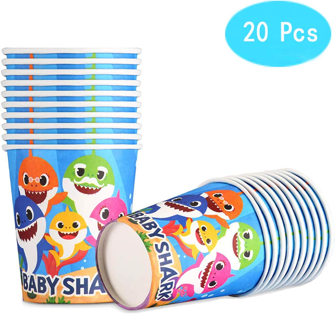 Shark Themed for Baby Party Supplies - Happy Shark Paper Cups - 9 oz, Disposable Paper Cups - Baby The Shark Birthday Party Decorations for Kids - Set 20