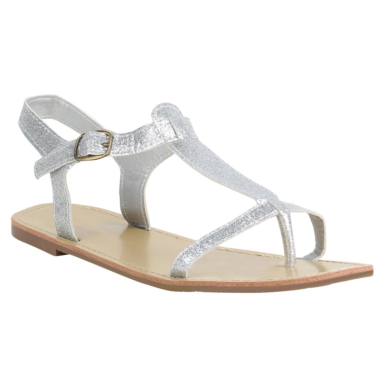 Stiefelparadies Damen Sandalen Zehentrenner mit Blockabsatz Flandell  38 EU|Silber Glitzer