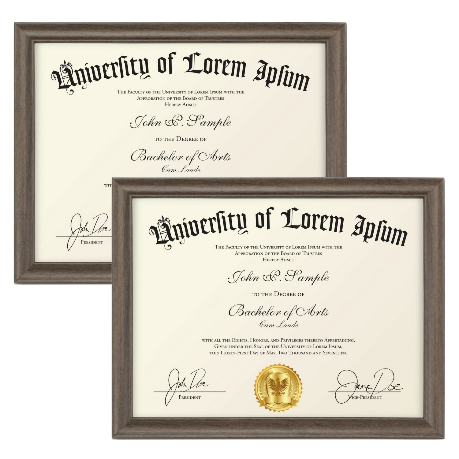 Icona Bay Certificate Holder Document Frames (Hickory Brown, 8.5 x 11 Inch, 2-Pack), Business License Permit, College Degree Diploma Frame for Standard Letter Size Paper, Wood Finish