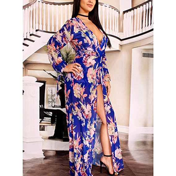 5847bbcee0ab YYF Womens V-Neck Floral Print High Low Split Beach Romper Maxi Dress  Jumpsuit  Amazon.co.uk  Clothing