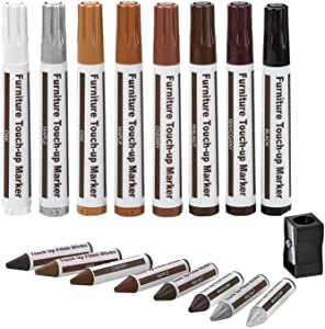 Furniture Touch Up Markers, 17pcs Furniture Repair Kit Wood Scratch Covers Markers Pens-8 Colors Felt Tip Pens,8 Wax Stick Crayons, 1 Sharpener