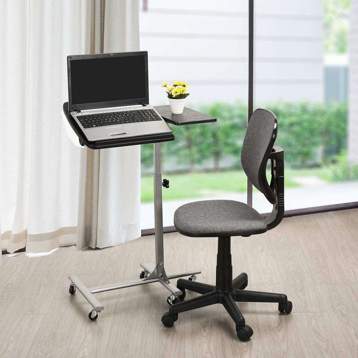 Natwind Lifting Laptop Desk Adjustable Angle & Height Portable Rolling Table Desk with Lockable Universal Wheels Laptop Notebook Stand Tiltable Tabletop Cart Removable Home Office Desk Black : Office Products