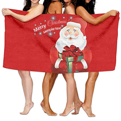 oetuu feliz Navidad Papá Noel personalizada toalla de baño toallas de playa para adultos y niños