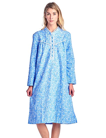 Casual Nights Women s Flannel Floral Long Sleeve Nightgown - Blue - Medium 75a6a08fa