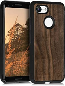 kwmobile Wooden Cover Compatible with Google Pixel 3 - Hard Case with TPU Bumper - Dark Brown