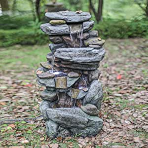Mytunes 5-Tier Rock Water Fountain,Floor Rack Water Fall Fountain Outdoor Water Fountain for Garden, Patio, Deck, Porch - Yard Art Decor with LED Lights-40.15""