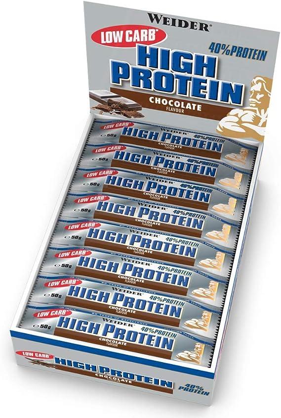 Weider 40% Protein Low Carb. Barrita alto contenido en proteínas sin hidratos de carbono. 40% de proteínas por barrita. Sabor Chocolate (24 x 50 g)