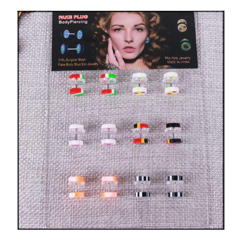 NASAMA 6 Pair Acrylic Stud Earrings Barbell Fake Gauges Kit Faux Plugs 12 Pieces Ltd