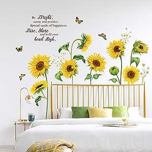 decalmile Sunflower Butterfly Wall Decals Garden Flower Wall Stickers Bedroom Living Room TV Wall Art Decor