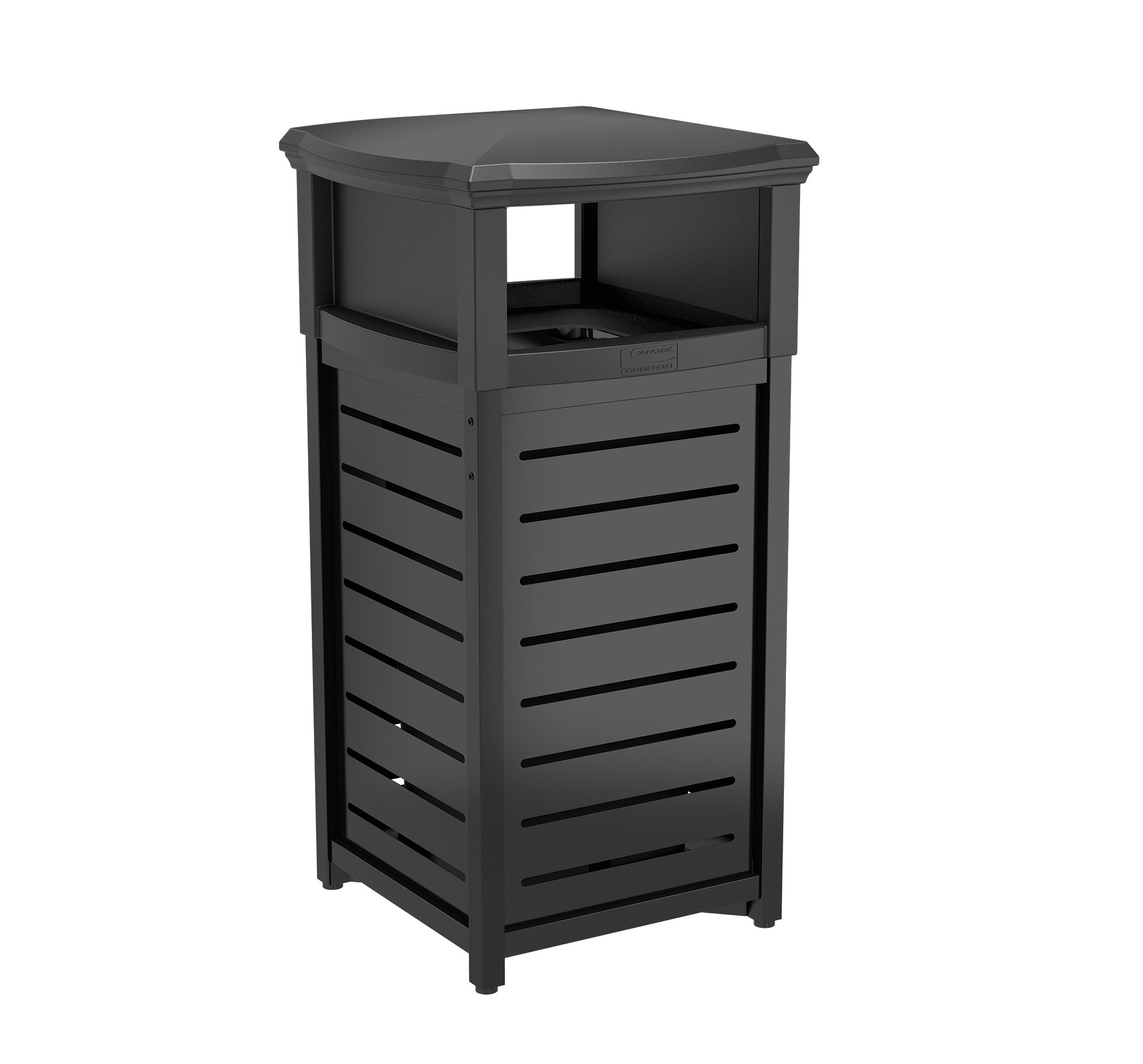 Suncast Commercial MTCSQ300 Metal Outdoor Trash Can with 2-Way Lid, 30 gal, 47.76'' Height, 24.41'' Width