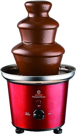 Masterchef Junior MCJPFCHA- Fuente De Chocolate De Acero Inoxidable, Potencia De 85W, 3 Niveles De Cascada, Apta para Todo Tipo De Chocolates, Color Rojo