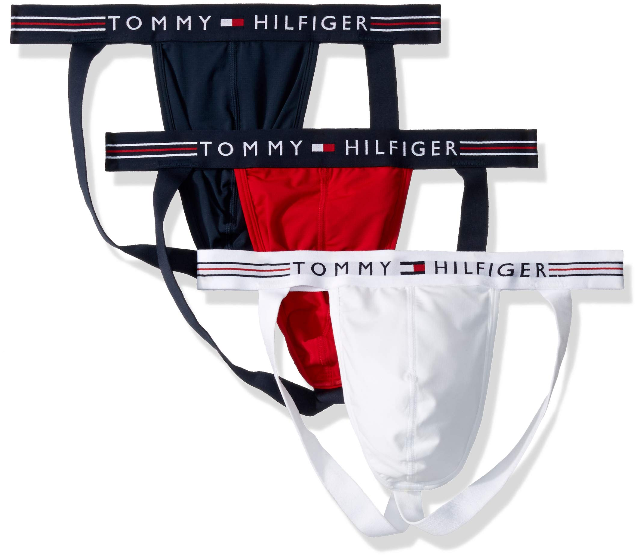 Tommy Hilfiger Men's Underwear Stretch Pro Multipack Jock Straps, Mahogany (Multi 3 Pack), L by Tommy Hilfiger