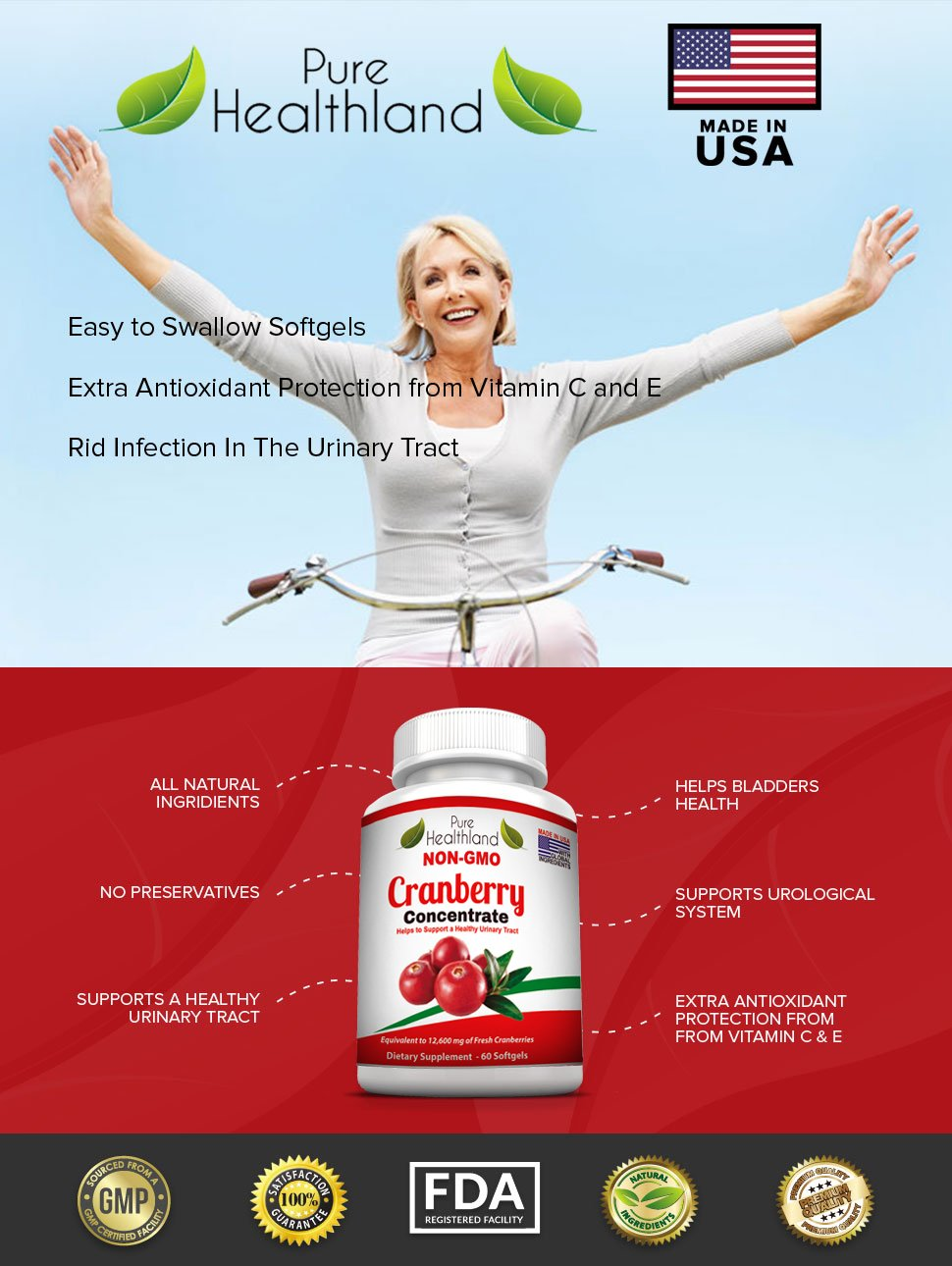 Non GMO Cranberry Concentrate Supplement Pills for Urinary Tract Infection UTI. Equals 12600mg Cranberries. Triple Strength Kidney Bladder Health for Men & Women. Easy to Swallow Softgels, 6 Bottles by Pure Healthland (Image #5)