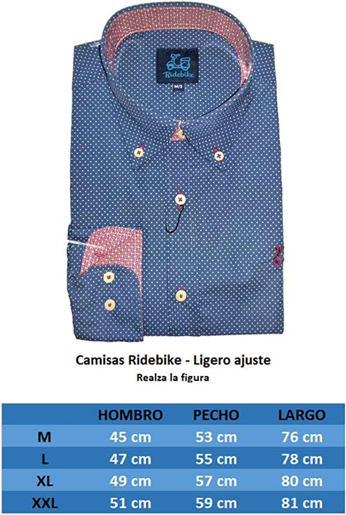 Ridebike Camisa azul con topitos blancos la vespa | custom fit ...
