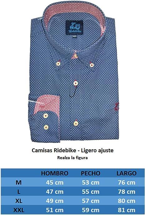 Ridebike Camisa Azul con topitos Blancos Vespa | Slim fit | Diseño del puño a Juego con el Cuello: Amazon.es: Ropa y accesorios