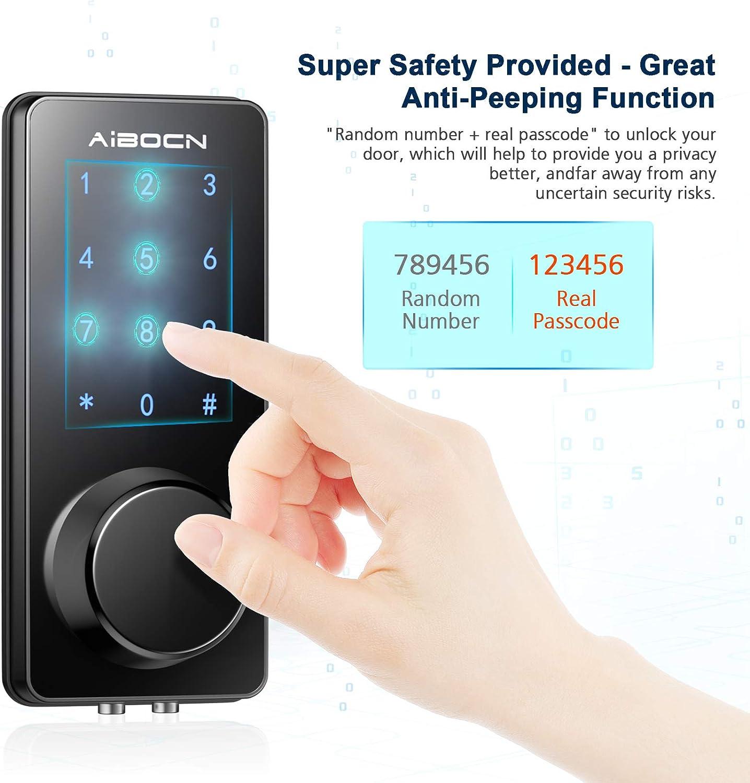 Zinc Alloy Anti-Theft Code and Key Combination Lock DIY Easy Installation WiFi Bluetooth Smartphone Keyless Entry Door Lock Auto Lock /& Alarm Aibocn Smart Lock Electronic Keypad Deadbolt Lock