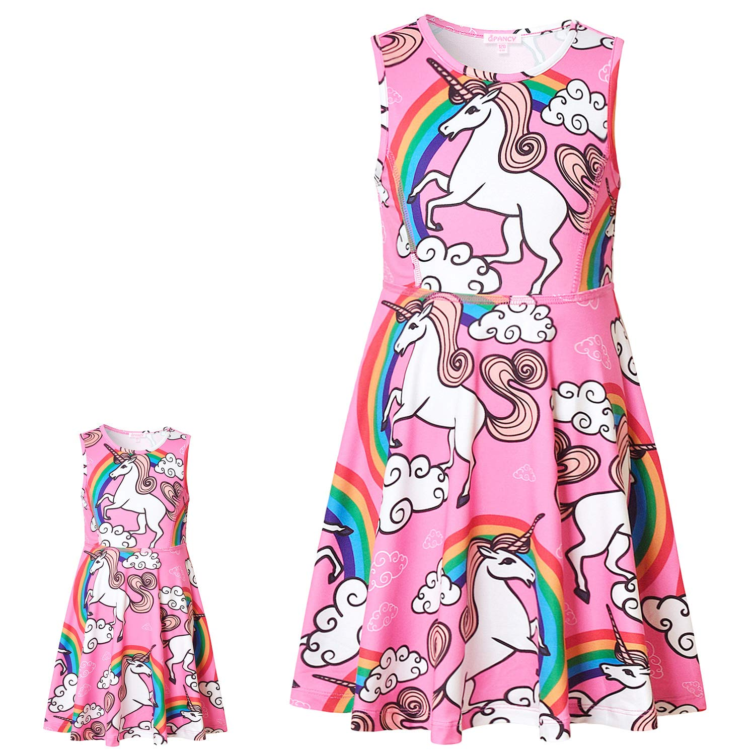Matching Girls & Doll Dresses Sleeveless Unicorn Outfits Clothes Fits 18' Dolls