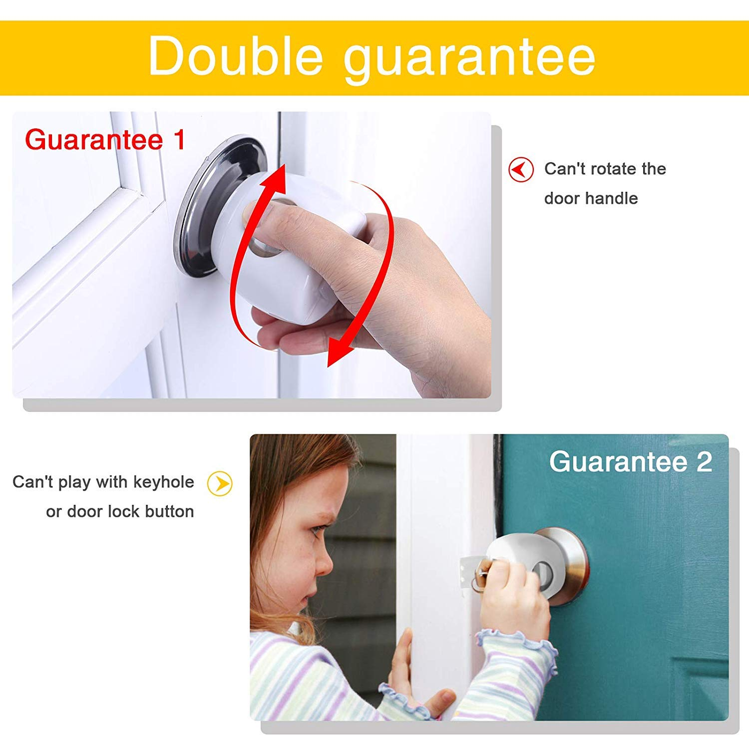 BYETOO 3 Pcs Baby Safety Door Knob Cover,Door Handle Cover Lockable Design,Child Proof Door Knob Covers Universal Size,Protect Your Child from Opening Unsafe Rooms or Locking Themselves in Home