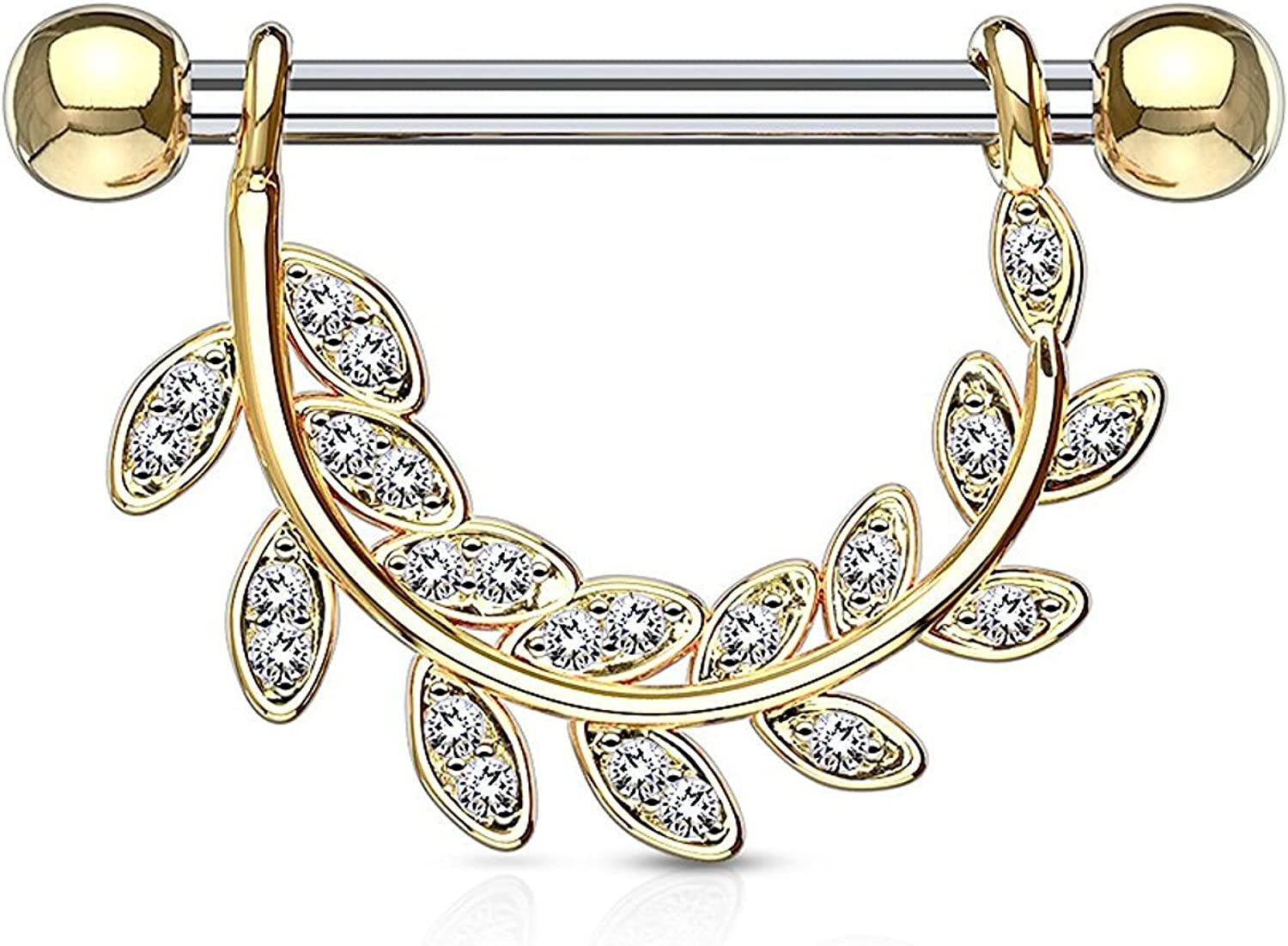 Covet Jewelry Two Tone Color CZ Flower 316L Surgical Steel Industrial Barbell